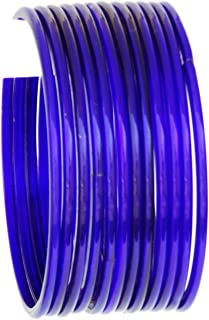 JD'Z Collection Indian Glass Bangle Set For Girls & Women Traditional Bollywood Fashion Jewelry Glass Bangles for Dailywear,Ethnic Wear Bangles Set of 12 (Blue 2.6)