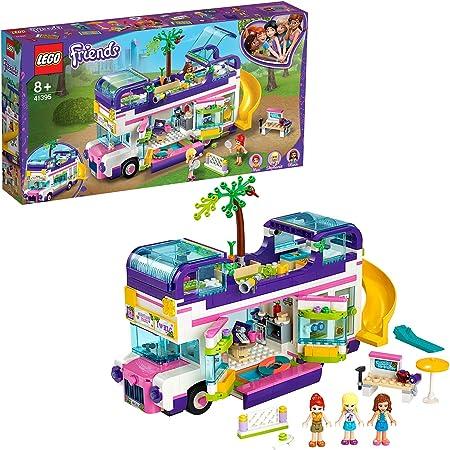 LEGO Friends Il Bus dell'Amicizia con Piscina e Scivolo, Playset con 3 Mini Bamboline, Autobus Giocattoli per Bambini di 8 Anni, 41395