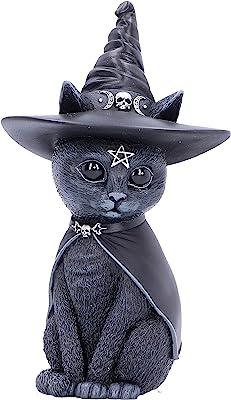 Nemesis Now Purrah Witches Hat Occult Cat Figurine, Black, 13.5cm