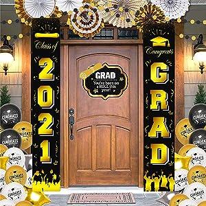 DmHirmg Class of 2021 & Congrats Grad Banner for Graduation Party Supplies - 2021 Graduation Decorations- Graduation Banner for 2021 Graduation-2021 Grade Porch Sign for Home Front Door(Black)