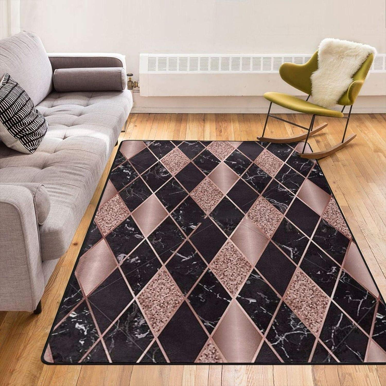 Rose 正規逆輸入品 Gold Marble Pink Black Geometric Modern Carp Floor ランキングTOP5 Area Rug