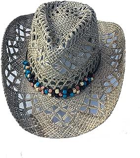 MYZOPER Woven Wide Brim Western Straw Cowboy Hat with Decorative Band