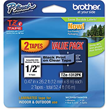 "Brother Genuine P-touch TZE-1312PK Tape, 1/2"" (0.47"") Standard Laminated P-touch Tape, Black on Clear, Perfect for Indoor or Outdoor Use, Water Resistant, 26.2 Feet (8M), Two-Pack"
