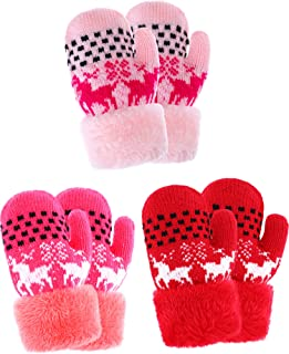 3 Pairs Kids Full Finger Gloves Winter Plush Lined Gloves Knitted Thicken Mittens for Infant Boys Girls Usage