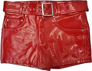 Zoelibat 45016514.029S Damen Shorts/Panty aus PVC mit Zipper und Gürtel mit Schnalle, Groß S, rot