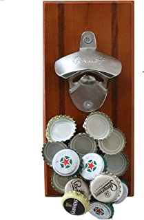 GeraH Magnetic Wall Mounted Beverage Bottle Opener with Cap Catcher for No Mess Convenience Easy to Hang Hardware Included Premium Quality Bonus eBook