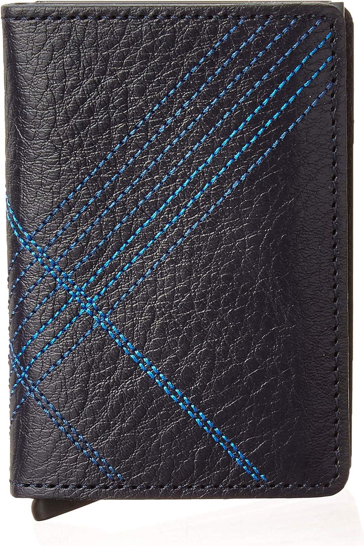 Secrid Slim Wallet Genuine Leather Stitch Linea Navy Safe Card Case max 12 cards