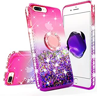 New iPod Touch Case,iPod Touch 5th/6th Generation Case Tempered Glass Screen Protector Liquid Glitter Quicksand Bling Sparkle Diamond Ring Stand Cases Compatible for Apple iPod Touch 5/6/7,Pink/Purple
