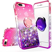 New iPod Touch Case,iPod Touch 5th/6th/7th Generation Case Liquid Glitter Quicksand Bling Sparkle Diamond Ring Stand Desig...