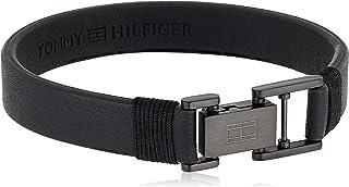 Tommy Hilfiger Men'S Ionic Plated Black Steel & Black Leather & Black Cotton Wrap Bracelets -2790228S