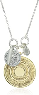 Lucky Brand Jewelry Hammered Coin Charm Pendant Necklace, Two Tone, One Size (JWEL5014)