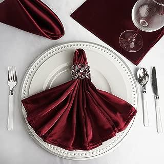 BalsaCircle 10 pcs 20-Inch Burgundy Satin Dinner Napkins - for Wedding Party Reception Events Restaurant Kitchen Home