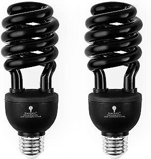 2 Pack BlueX CFL UV Blacklight Bulb 24W – 100-Watt Equivalent – E26 Spiral Replacement Bulbs - Black Light Bulb Decorative Illumination - for Indoor or Outdoor – DJ, Aquarium UV Bulbs (Blacklight)
