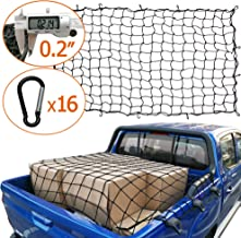 Towever 3x4 Bungee Cargo net Pickup Truck Bed Long Stretches to 6x8 8cm x 8cm Mesh Net Small Large Cargo Loads Tighter for Rooftop Cargo Carrier