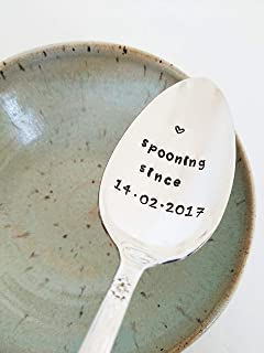 Personalized Spooning Spoon Hand Stamped Spoon Custom Silverware Wedding Anniversary Valentine's Day
