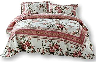 DaDa Bedding Cottage Bedspread Set - Dusty Roses Reversible Quilted Coverlet - Vibrant Floral Multi Colorful Mauve Pink - Cal King - 3-Pieces