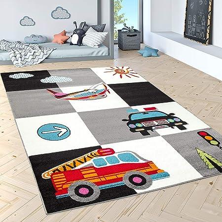 Paco Home Tapis pour Enfants Tapis De Jeu Police Pompiers Avion Carreaux Crème Gris Noir, Dimension:80x150 cm