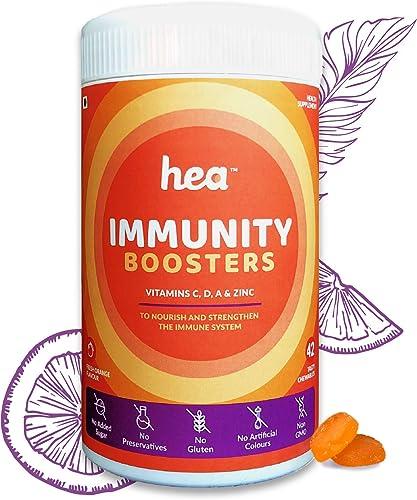 Hea Immunity Boosters For Women Vitamin C Zinc Vitamin A Vitamin D Strong Immune System 100 Vegetarian Sugar Free 6week Pack Fresh Orange Flavour