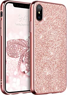 """BENTOBEN Case for iPhone XS Max 2018, Slim Glitter Shiny Full Body Protective Flexible Soft TPU Shockproof Anti Scratch Sturdy Non Slip Girl Women Phone Covers for Apple iPhone XS+ MAX 6.5"""", Rose Gold"""