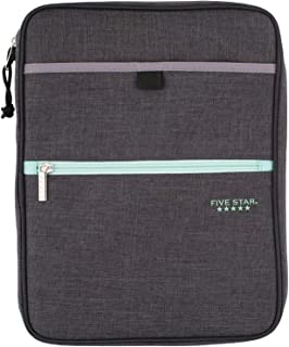 Five Star Zipper Binder, 1 Inch 3 Ring Binder, Carry-All With Internal Pockets & Dividers, Heathered Gray/Mint (29092BH0)