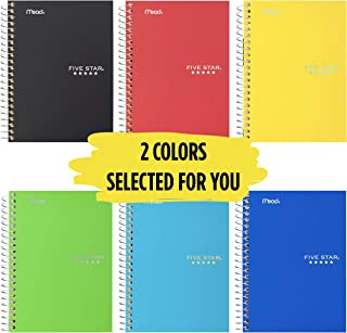 """Five Star Spiral Notebooks, 1 Subject, College Ruled Paper, 100 Sheets, 7"""" x 5"""", Personal Size, Black, Red, Cobalt Blue, 3..."""