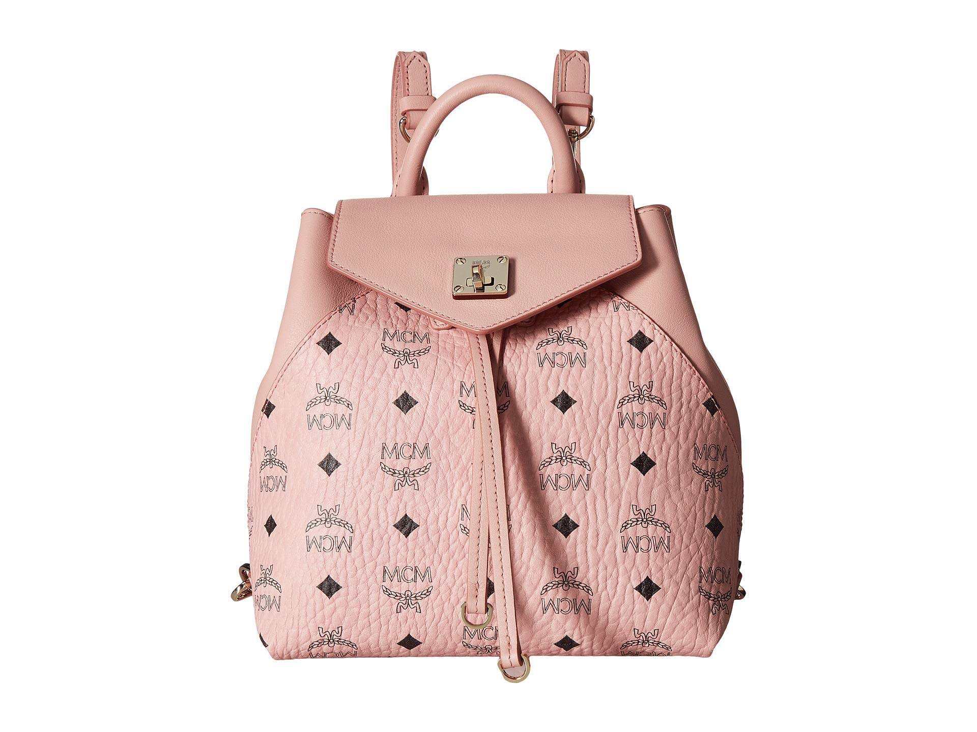 Pink Mcm Small Visetos Backpack Essential Soft Original Y6rFYx