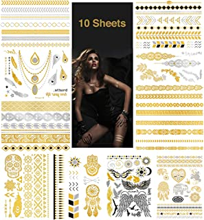 Metallic Temporary Tattoos, Waterproof Non-Toxic 175+ Designs, 10 Large Sheets Fake Tattoo Stickers in Gold & Silver, Gold103
