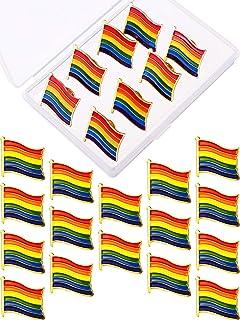Yaomiao 16 Pieces Rainbow Enamel Pins Pride Pins Lapel Pin Hat Tie Tack Brooch Decoration with Plastic Box