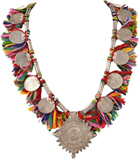 Zephyrr Fashion Ethnic Charms Necklace with Multi Color Tassels for Women