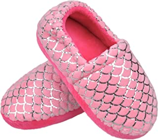 MIXIN Little Big Kids Slippers Warm Plush House Slippers for Toddler Girls Boys Anti-Slip Household Shoes Indoor Outdoor