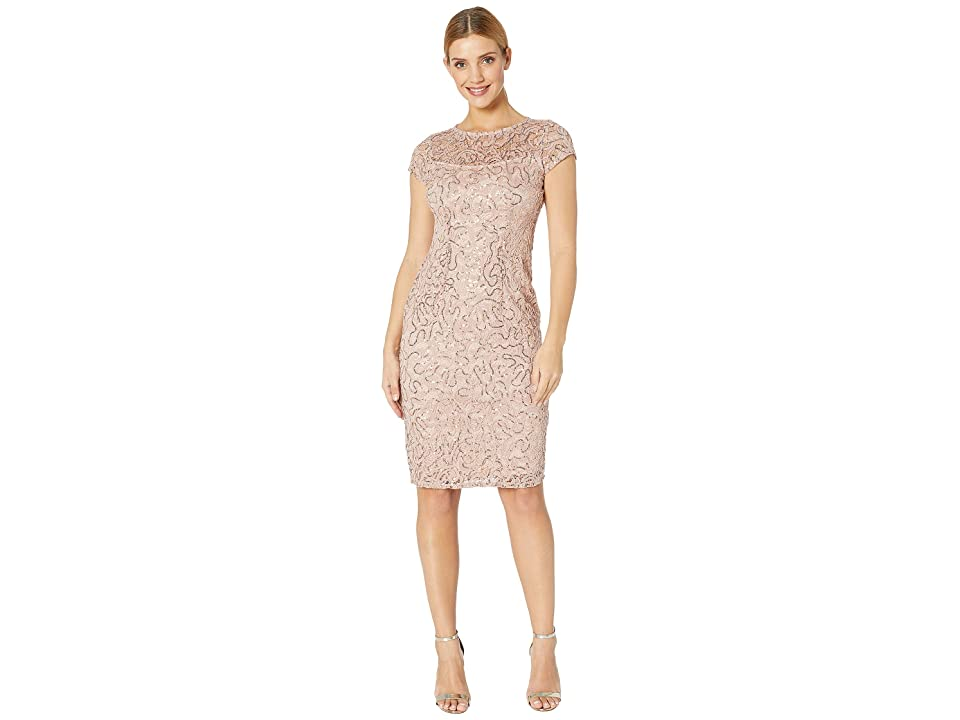 MARINA Stretch Lace Cap Sleeve Midi Dress (Blush) Women's Clothing, Pink