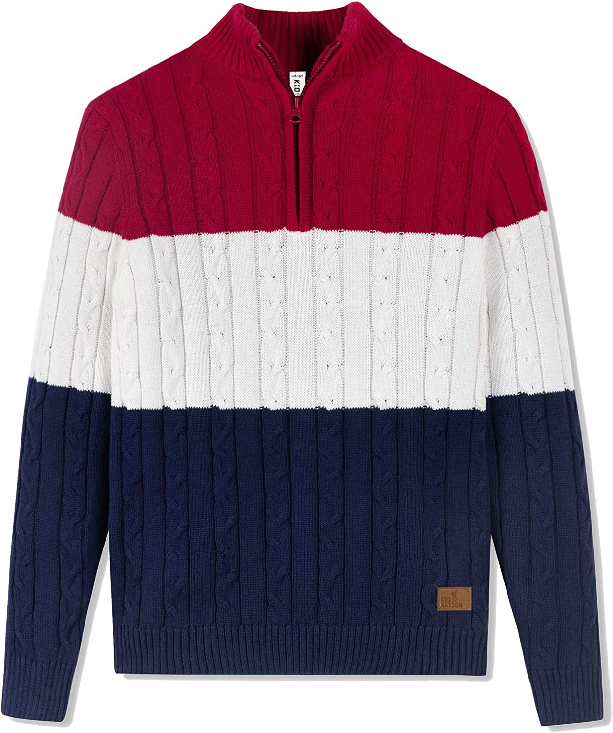 Amazon Essentials 1/4 Zip Sweater Casual Cable Knit Long Sleeve Pullover Sweatshirt for Boys Red/White/Navy 3-4T