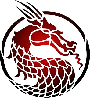 Dragon Head Stencil - 13 x 14 inch (XL) - Reusable Asian Oriental Chinese Japanese Wall Stencil Template - Use on Paper Projects Scrapbook Journal Walls Floors Fabric Furniture Glass Wood etc.