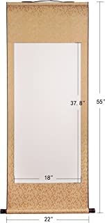 JZ003 Hmayart kakejiku Blank Mounting Hanging Scroll Chinese Rice Xuan Paper Art Wall Scrolls for Sumie and Calligraphy (55 Inch) (JZ003_Qianka USA)