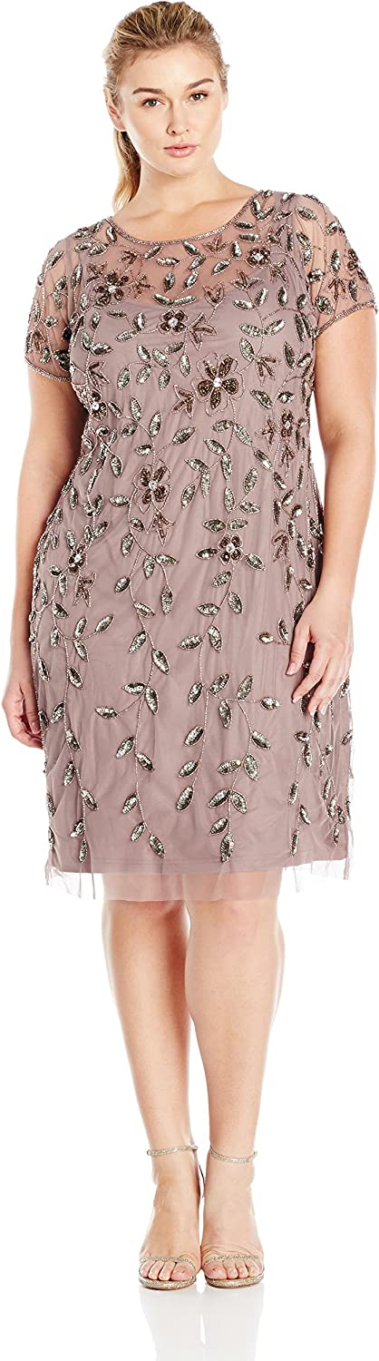 Adrianna Papell Women's PlusSize Short Sleeve Beaded Cocktail Dress