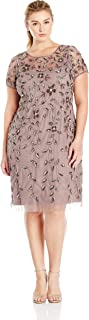 Adrianna Papell Women's Plus-Size Short Sleeve Beaded Cocktail Dress