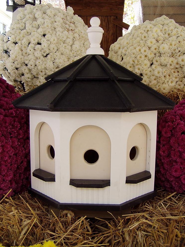 Amish homemade handcrafted Handmade Poly Gazebo Birdhouse yard White & Black Large