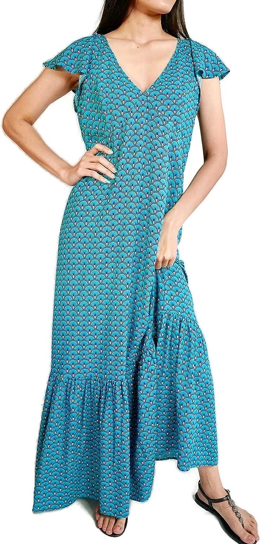 Kesornphusa Women's Maxi Dress Ruffle Sleeve V Neck Flowy Casual Loose Bohemian Floral Print Blue
