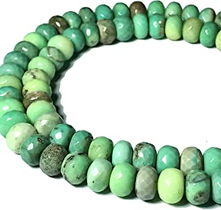 [ABCgems] Rare Australian Chrysoprase AKA Australia Jade (Beautiful Color- Exquisite Matrix) 12mm Faceted Rondelle Beads for Beading & Jewelry Making