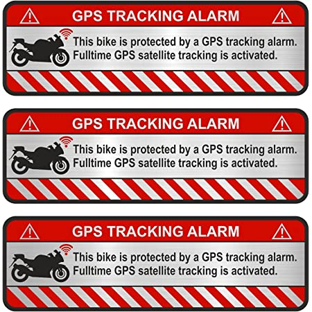 Finest Folia 3x Gps Aufkleber Fahrrad Motorrad Auto Alarm Warnung Anti Diebstahl Sticker Tracker Gesichert R056 Aluminium Schliff Silber Motorrad Auto