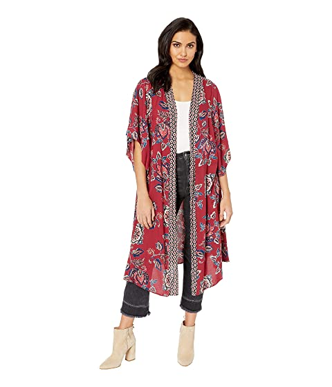 d49db602c2069 Angie Floral Printed Kimono with Border at 6pm