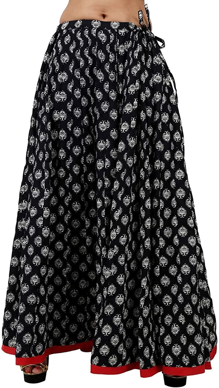 Indian Handicrfats Export Beauteous Black Cotton Printed Skirt