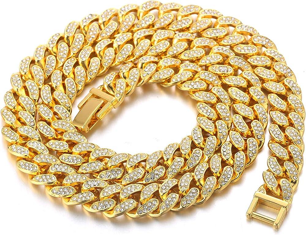 Catena cubana uomo iced out placcato in oro 18 carati/platino WS-HAJWEU117-G-60CM