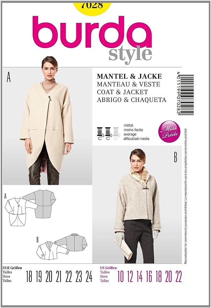 Burda Petite/Half Sizes Sewing Pattern 7028 - Coat & Jacket Sizes: 10-22 Petite