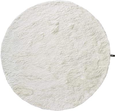 Tapis shaggy à poils longs Whisper Blanc ø 80 cm rond - Tapis doux pour salon