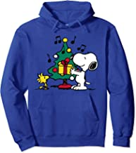Peanust Snoopy and Woodstock Holiday Christmas Tree Pullover Hoodie