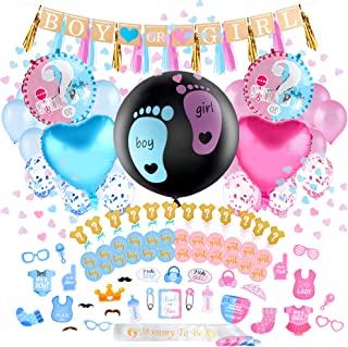 Louvy Gender Reveal Party Supplies - (120-Pc Premium Kit) Pink, Blue and Gold Boy or Girl Baby Decorations Kit - Cake or Cupcake Topper, Photo Prop, Balloons, Tassel Garland, Ribbon, Banner, Confetti