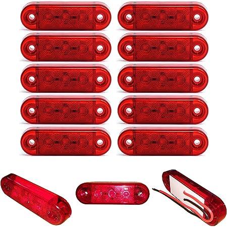 10x 3 Led Begrenzunsleuchten Positionleuchten Seitenleuchten 12v 24v Volt Für Lkw Bus Trailer Indikator Licht Seitenmarkierungsleuchte In 3 Farben Rot Gelb Weiss Rot Auto