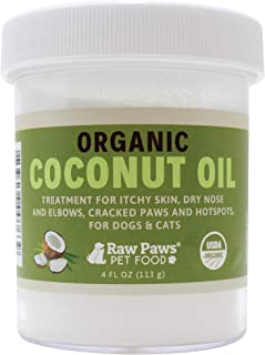 Raw Paws Organic Coconut Oil for Dogs & Cats - Treatment for Itchy Skin, Dry Nose, Paws, Elbows, Hot Spot Lotion for Dogs, Natural Hairball Remedy for Dogs & Cats, Flea Tick Prevention for Dogs