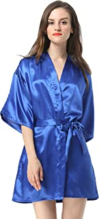 Women's Satin Plain Short Kimono Robe Bathrobe